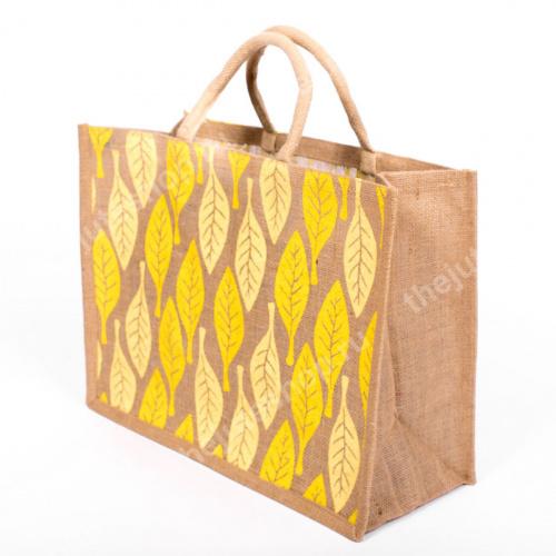 Джутовая сумка Листья желтые